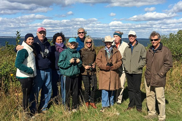 Part of the Penni Sharp Nature Walk group posing on hill near Race Point, Fishers Island, NY, 10-17-15. Photo by Chris Edwards
