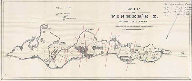 1875 auction map showing Fishers Island divided into 15 farms. Museum Collection.